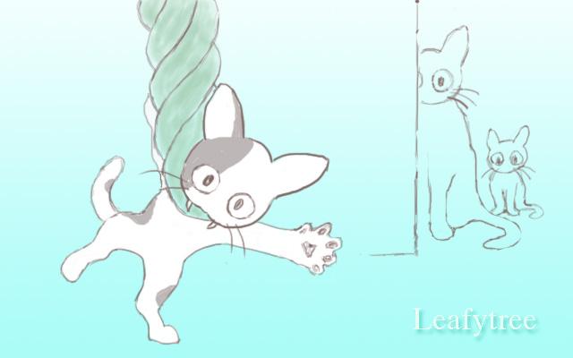 網に絡まった子猫