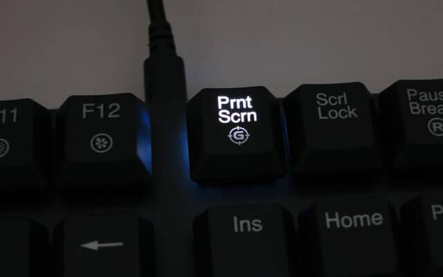 PrintScreenキーが点灯する