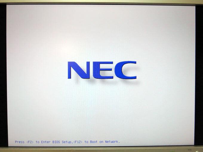 起動時のNECのロゴ画面