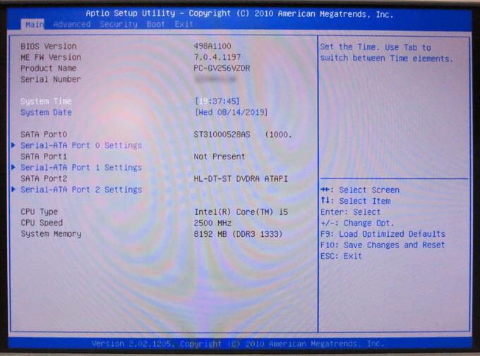 BIOSの設定画面に入れた